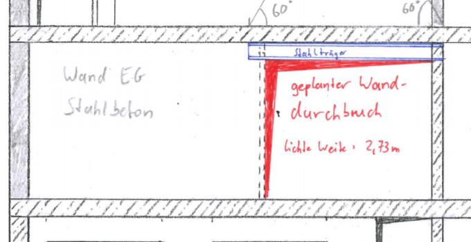 Wanddurchbruch Ansicht-der zu öffnenden Wand laut statischer Berechnung
