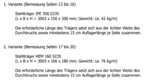 Wanddurchbruch Stahlträger Varianten statische Berechnung